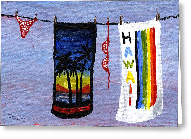 Beach Towel Paintings Greeting Cards - Out To Dry Greeting Card by Darice Machel McGuire