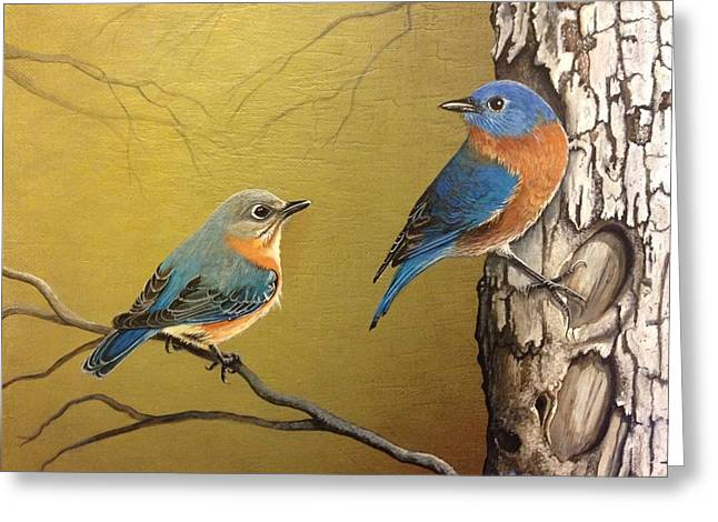 Eastern Bluebird Greeting Cards - Out to Lunch Greeting Card by Laura Parrish