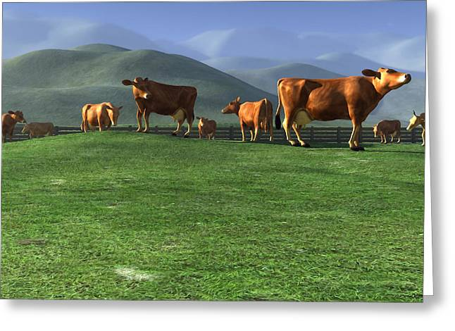 Pasture Digital Art Greeting Cards - Out to Pasture Greeting Card by Cynthia Decker