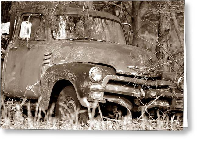 Rusted Cars Greeting Cards - Out To Pasture Greeting Card by Deena Stoddard