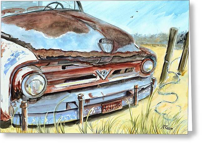 Old Objects Paintings Greeting Cards - Out To Pasture Greeting Card by Nancy Cason