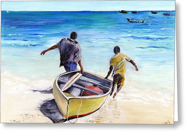 Cricket Paintings Greeting Cards - Out To Sea Greeting Card by Richard Jules