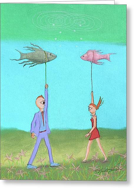 Meeting Pastels Greeting Cards - Out Walking My Fish Greeting Card by R Neville Johnston