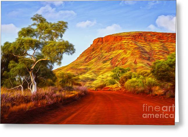 Nameless Greeting Cards - Outback Road Australia Greeting Card by Colin and Linda McKie