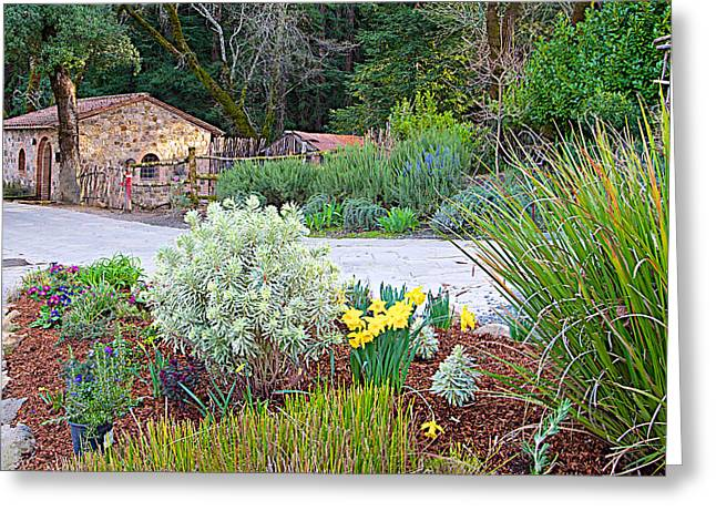 Outbuildings Digital Art Greeting Cards - Outbuilding and Garden in Front of Castello di Amorosa in Napa Valley-CA Greeting Card by Ruth Hager