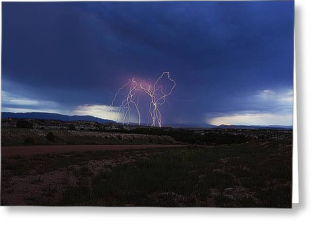Photography Lightning Greeting Cards - Outburst Greeting Card by Zach  Roberts