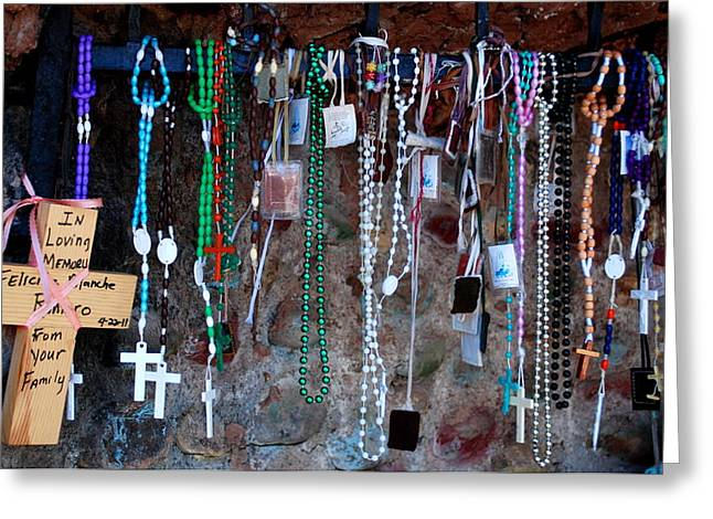 Rosary Greeting Cards - Outdoor altar Greeting Card by Luis-Enrique Valles