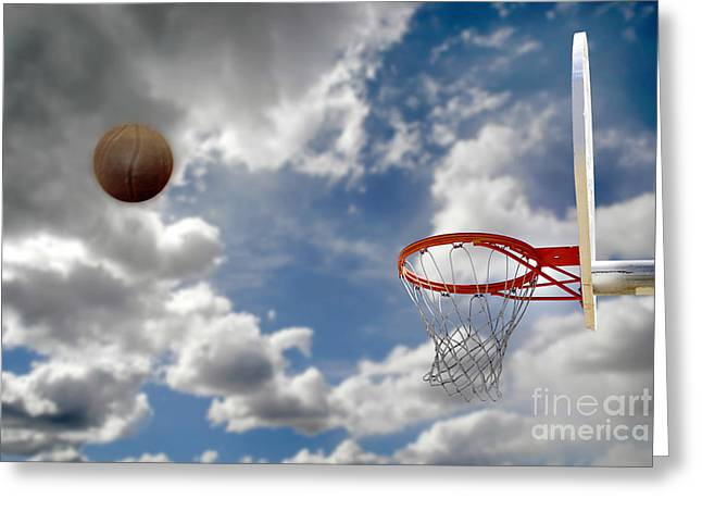 Basket Ball Game Greeting Cards - Outdoor Basketball Shot Greeting Card by Lane Erickson