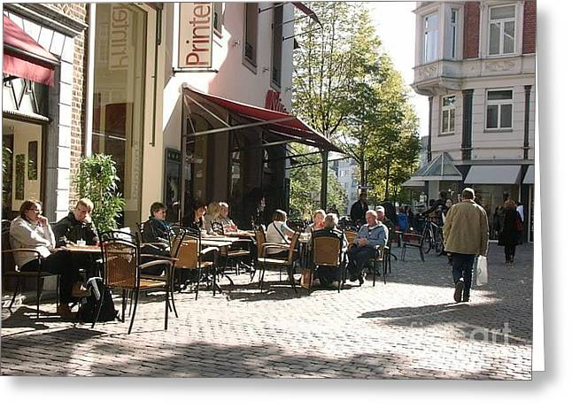 Urban Images Greeting Cards - Outdoor Cafe Aachen Germany Greeting Card by Anthony Morretta