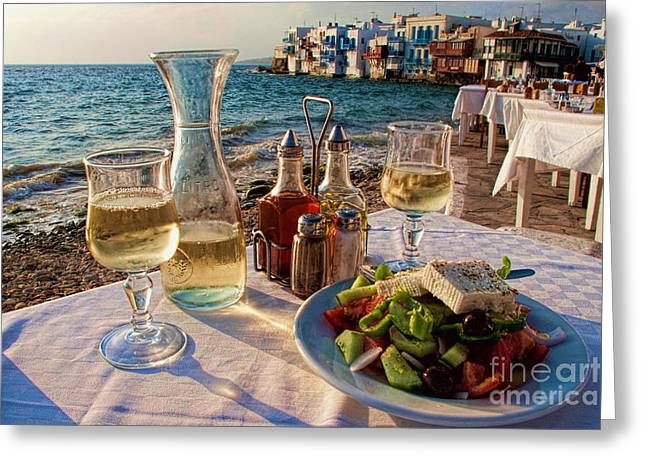 Table-cloth Greeting Cards - Outdoor cafe in Little Venice in Mykonos Greece Greeting Card by David Smith