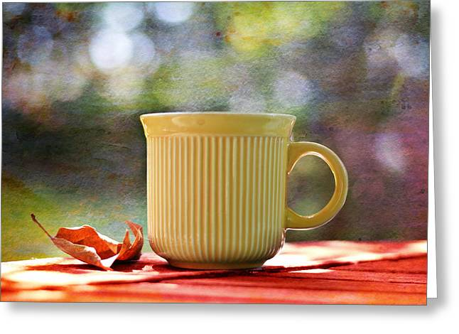 Outdoor Cafe Greeting Card by Laura Fasulo