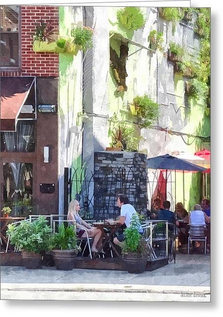 Al Fresco Greeting Cards - Outdoor Cafe Philadelphia PA Greeting Card by Susan Savad
