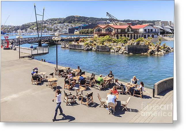 New Zealand Photographs Greeting Cards - Outdoor Cafe Wellington New Zealand Greeting Card by Colin and Linda McKie