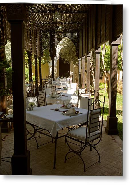 Table Greeting Cards - Outdoor Dining Area, Villa Des Orangers Greeting Card by Panoramic Images