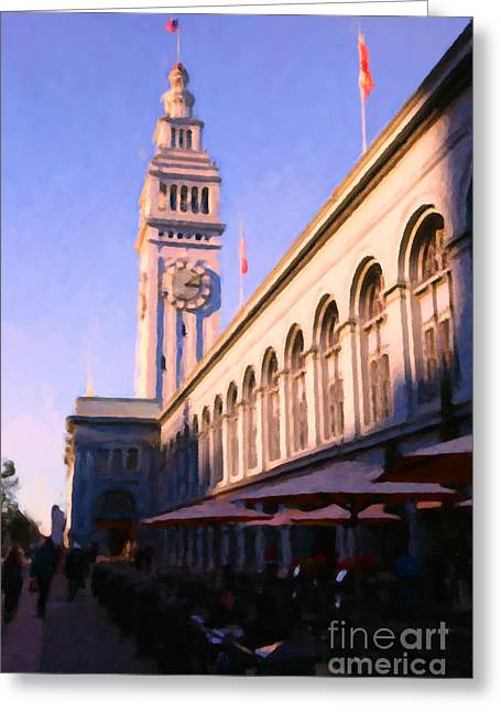 Downtown San Francisco Greeting Cards - Outdoor Dining at San Franciscos Ferry Building at The Embarcadero - 5D20837 Greeting Card by Wingsdomain Art and Photography