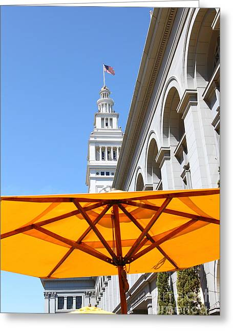 Port Of San Francisco Greeting Cards - Outdoor Dining At the San Francisco Ferry Building 5D25378 Greeting Card by Wingsdomain Art and Photography