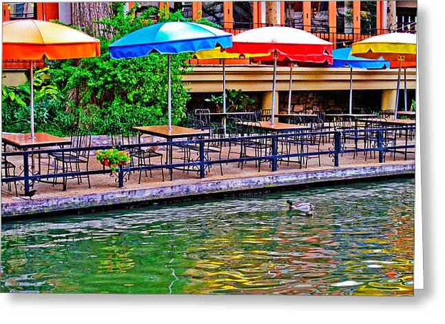 Riverwalk Photographs Greeting Cards - Outdoor Dining Greeting Card by David and Carol Kelly