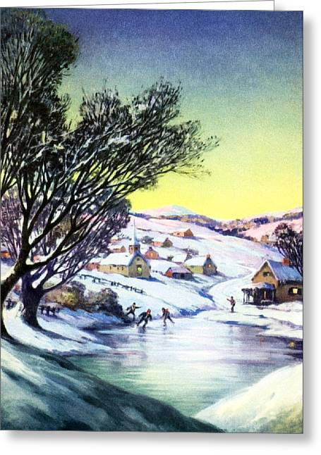 Skiing Christmas Cards Greeting Cards - Outdoor Fun Greeting Card by Munir Alawi