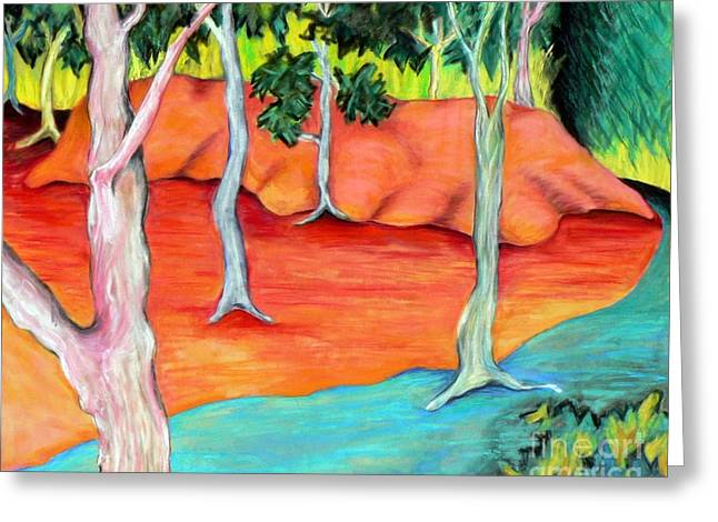 Surreal Landscape Pastels Greeting Cards - Outdoor Hideout Greeting Card by Elizabeth Fontaine-Barr