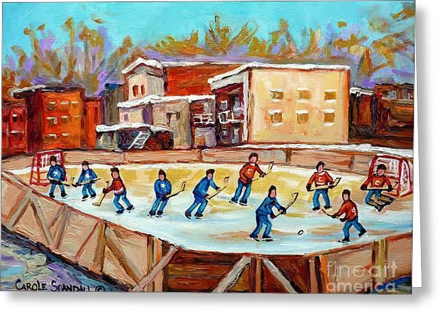 Hockey Paintings Greeting Cards - Outdoor Hockey Fun Rink Hockey Game In The City Montreal Memories Paintings Carole Spandau Greeting Card by Carole Spandau