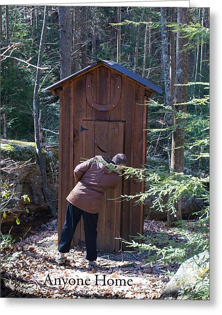 Outdoor Toilets Greeting Cards - Outdoor Privy Anyone Home Greeting Card by Douglas Barnett
