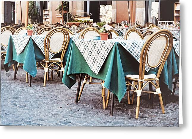 Italian Restaurant Greeting Cards - Outdoor Restaurant Cafe in Piazza Navona Greeting Card by Angela Bonilla