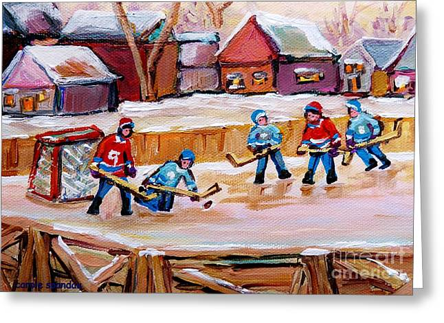 Outdoor Hockey Greeting Cards - Outdoor Rink Hockey Game In The Village Hockey Art Canadian Landscape Scenes Carole Spandau Greeting Card by Carole Spandau