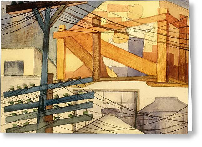 Telephone Wires Greeting Cards - Outdoor Scaffolding  Greeting Card by Fermin Revueltas