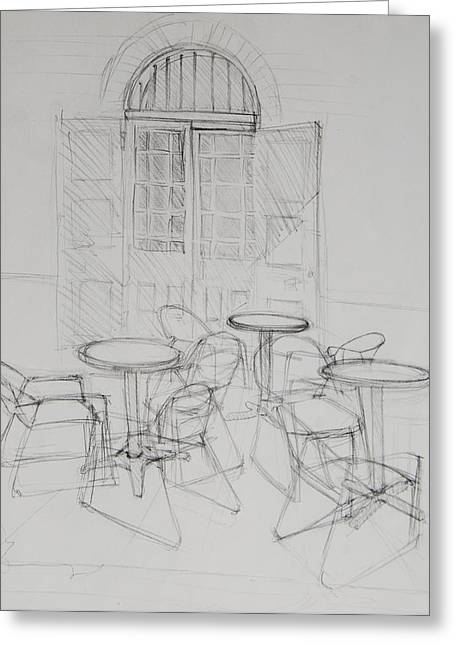 Table And Chairs Drawings Greeting Cards - Outdoor Seating - Pirates Alley - French Quarter Greeting Card by Jani Freimann