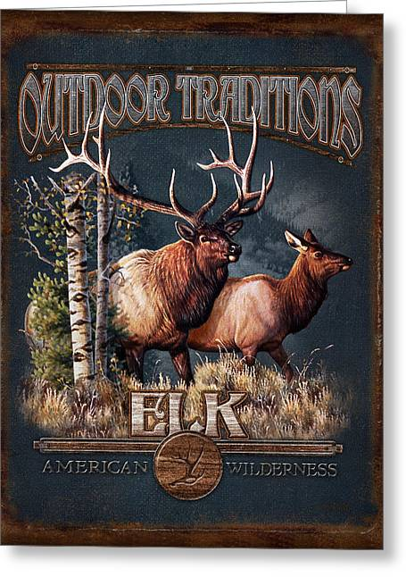 Elk Wildlife Greeting Cards - Outdoor Traditions Elk Greeting Card by JQ Licensing