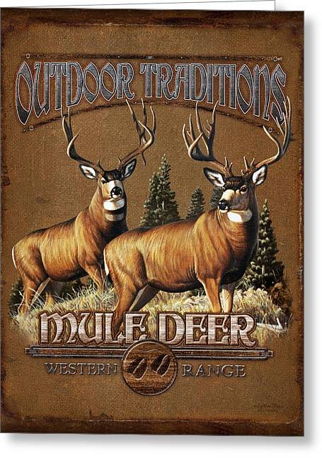 Mules Greeting Cards - Outdoor Traditions Mule deer Greeting Card by JQ Licensing