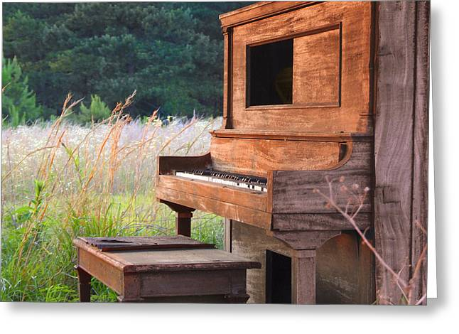 Player Digital Greeting Cards - Outdoor Upright Piano Greeting Card by Mike McGlothlen
