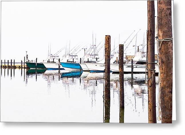 Dan Carmichael Digital Art Greeting Cards - Outer Banks Fishing Boats Sketch #1 Greeting Card by Dan Carmichael