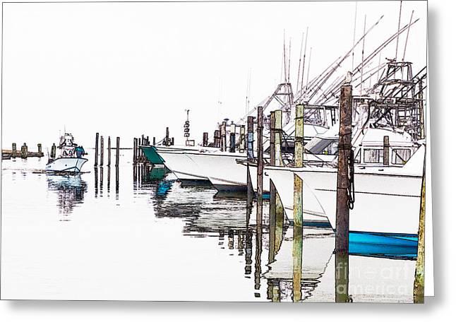 Dan Carmichael Digital Greeting Cards - Outer Banks Fishing Boats Sketch #2 Greeting Card by Dan Carmichael