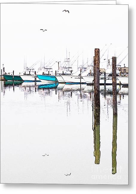 Dan Carmichael Digital Greeting Cards - Outer Banks Fishing Boats Sketch #3 Greeting Card by Dan Carmichael