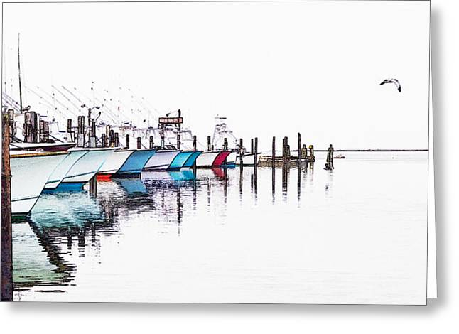 Fine Photographer Digital Greeting Cards - Outer Banks Fishing Boats Sketch #4 Greeting Card by Dan Carmichael