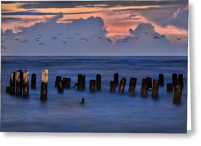 Exposure Framed Prints Greeting Cards - Outer Banks - Soft Sunrise on Ocracoke Greeting Card by Dan Carmichael