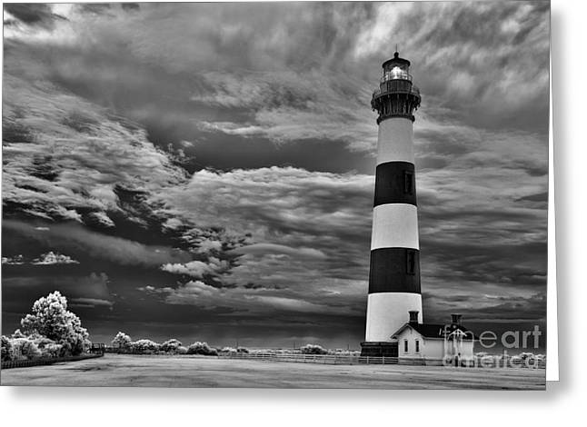 Dan Carmichael Greeting Cards - outer Banks - Stormy Day at Bodie Lighthouse BW Greeting Card by Dan Carmichael