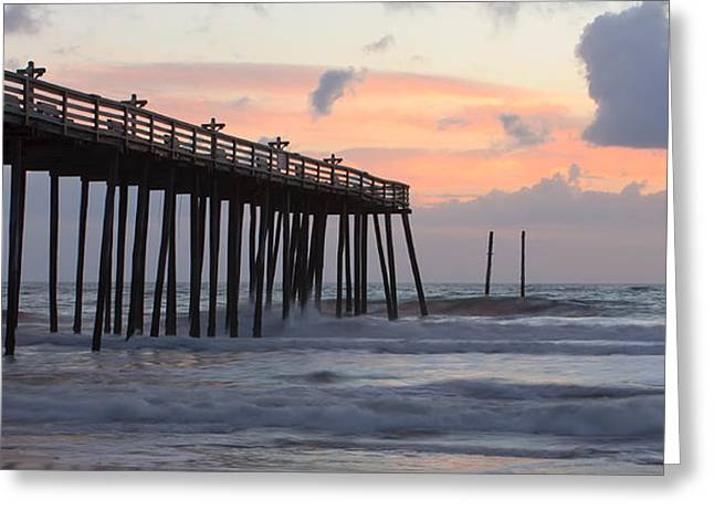 Panoramic Ocean Photographs Greeting Cards - Outer Banks Sunrise Greeting Card by Adam Romanowicz