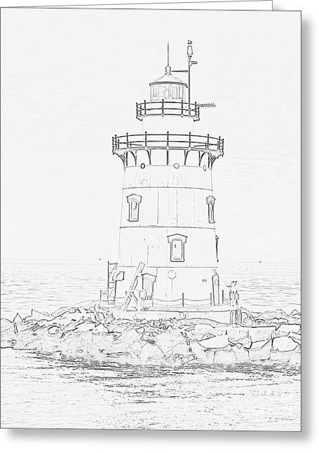 Saybrook Greeting Cards - Outer lighthouse stencil Greeting Card by Meandering Photography