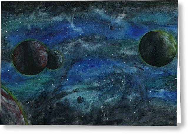 Outer Space Paintings Greeting Cards - Outer Space Greeting Card by Alison  Page