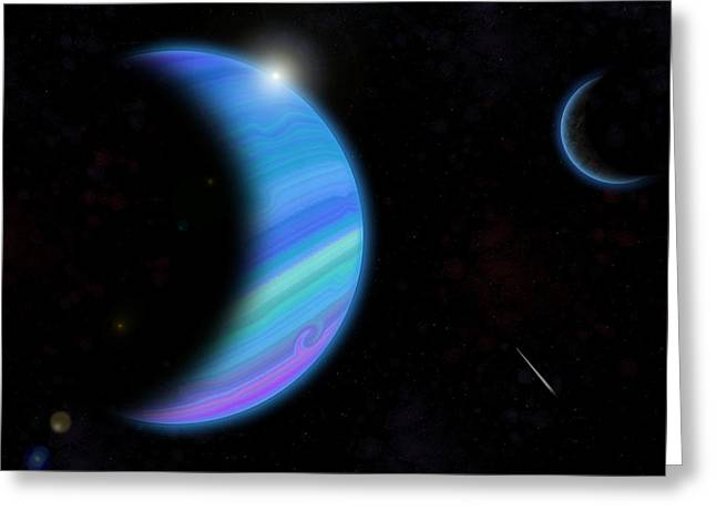 Outer Space Paintings Greeting Cards - Outer Space Dance digital painting Greeting Card by Georgeta Blanaru