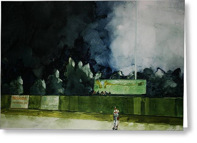 Baseball Stadiums Paintings Greeting Cards - Outfield Greeting Card by George James