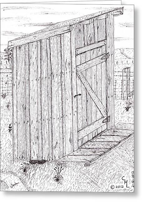 Wood Grain Drawings Greeting Cards - Outhouse 3 Greeting Card by Clark Letellier