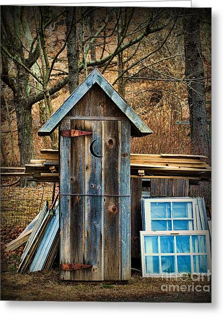 Outdoor Toilets Greeting Cards - Outhouse - 5 Greeting Card by Paul Ward