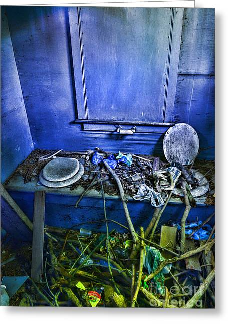Outdoor Toilets Greeting Cards - Outhouse Abandoned in the Woods Greeting Card by Paul Ward