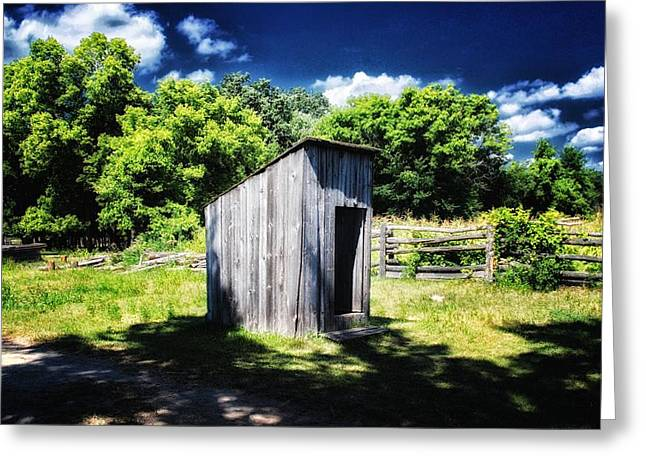 Shack Mixed Media Greeting Cards - Outhouse Greeting Card by Todd and candice Dailey