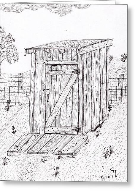 Wood Grain Drawings Greeting Cards - Outhouse Greeting Card by Clark Letellier