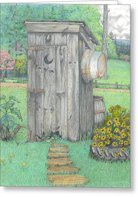 Rural Scene Pastels Greeting Cards - Outhouse Greeting Card by David Gallagher