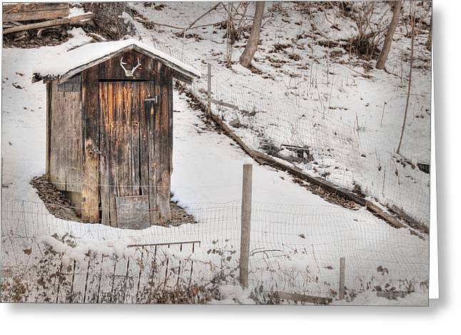 Pottier Greeting Cards - Outhouse for Bucks Greeting Card by Lori Deiter